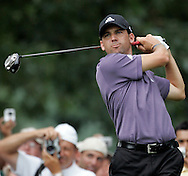 Sergio Garcia on the 18th tee during a practice round at Baltusrol Golf Club Springfield, NJ Tuesday 9 August 2005.