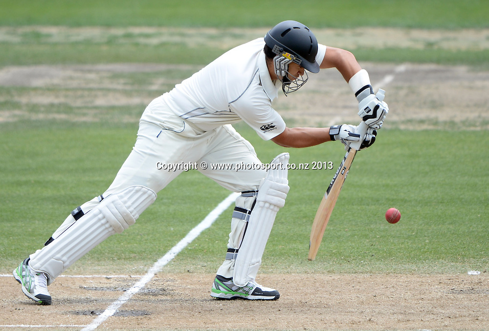 Ross Taylor batting on Day 3 of the 3rd cricket test match of the ANZ Test Series. New Zealand Black Caps v West Indies at Seddon Park in Hamilton. Saturday 21 December 2013. Photo: Andrew Cornaga / www.Photosport.co.nz