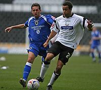 Photo: Pete Lorence.<br />Derby County v Cardiff City. Coca Cola Championship. 17/03/2007.<br />Michael Chopra (L) chases down Derby's Giles Barnes.