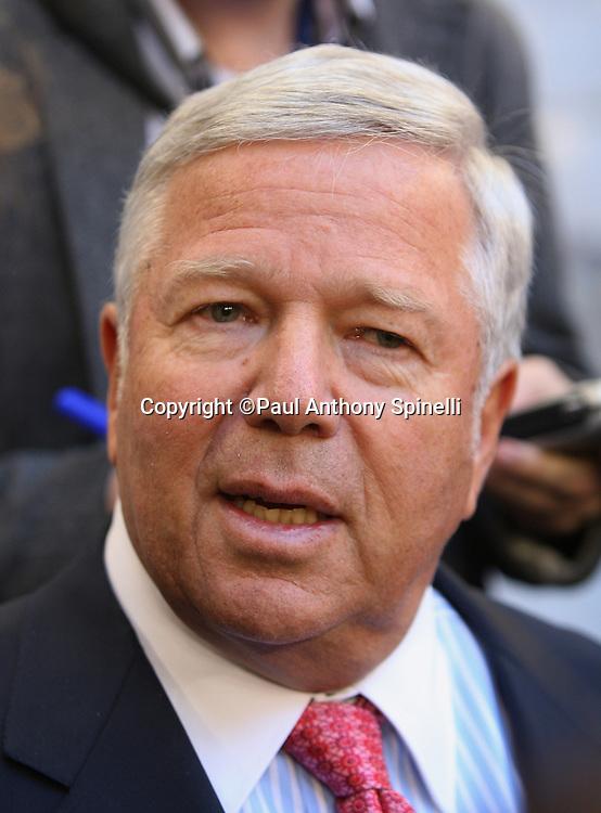 GLENDALE, AZ - JANUARY 29: Chairman and CEO Robert Kraft of the New England Patriots speaks to the media at the Patriots Super Bowl XLII Media Day at University of Phoenix Stadium on January 29, 2008 in Glendale, Arizona.©Paul Anthony Spinelli *** Local Caption *** Robert Kraft