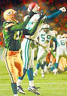 (Published caption 11/3/97) Green Bay Packers wide receiver Robert Brooks grabs a pass from Brett Favre early in the second quarter to score the team's first touchdown.
