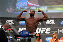 Toronto, Ontario, Canada - December 09, 2011: UFC Light Heavyweight Champion Jon Jones weighs in for his bout against challenger Lyoto Machida at UFC 140 at the Air Canada Centre in Toronto, Canada.