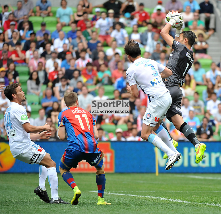 Mark Birighitti (Newcastle Jets) during the Hyundai A- League, round 2 match, between Melbourne City &amp; the Newcastle Jets held at Aami Park Stadium, Melbourne, Victoria on the 19th October 2014.<br /> WAYNE NEAL | SportPix.org.uk