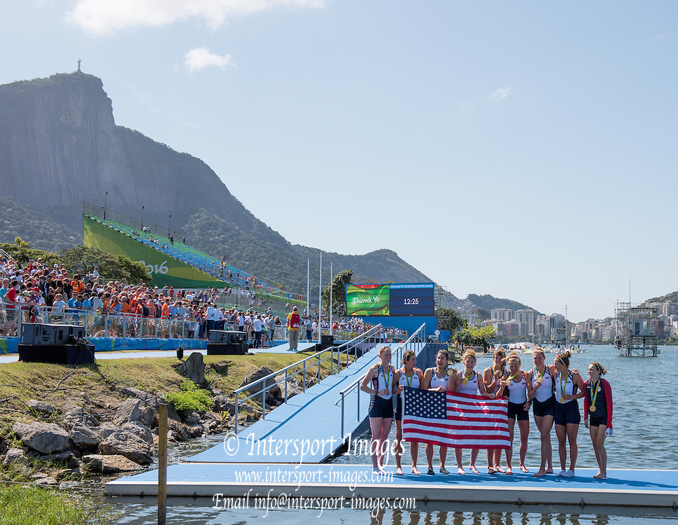 Rio de Janeiro. BRAZIL     USA W8+. Gold Medalist Bow.  Emily REGAN, Kerry SIMMONDS, Amanda POLK,  Lauren SCHMETTERLING, Tessa GOBBO, Meghan<br /> MUSNICKI, Eleanor LOGAN,  Amanda ELMORE, and cox. Katelin SNYDER, at the, 2016 Olympic Rowing Regatta. Lagoa Stadium, Copacabana,  &ldquo;Olympic Summer Games&rdquo;<br /> Rodrigo de Freitas Lagoon, Lagoa. Local Time 12:25:44  Saturday  13/08/2016<br /> [Mandatory Credit; Peter SPURRIER/Intersport Images]
