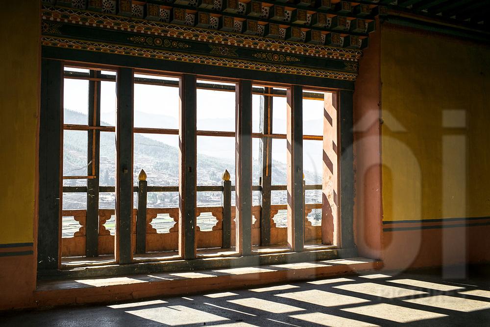 Window framework in Rinpung Dzong monastery, Paro, Nepal, Asia