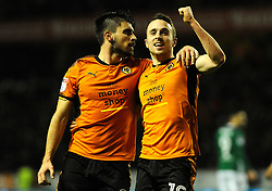 Diogo Jota of Wolverhampton Wanderers celebrates with Ruben Neves of Wolverhampton Wanderers after making it 3-0- Mandatory by-line: Nizaam Jones/JMP - 02/01/2018 - FOOTBALL - Molineux - Wolverhampton, England- Wolverhampton Wanderers v Brentford -Sky Bet Championship