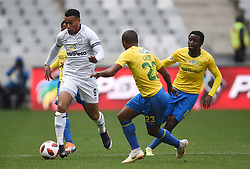 Cape Town-180825- Cape Town City player Matthew Rusike challenged by  Mamelodi Sundowns defender Lyle Lakay in the MTN 8 semi-final at Cape Town Stadum.Photographer :Phando Jikelo/African News Agency/ANA