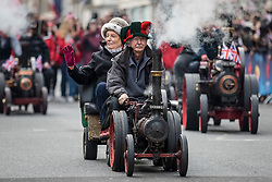 © Licensed to London News Pictures. 01/01/2019. London, UK. Miniature steam locomotives during the London New Year's Day Parade. More than 8,000 performers from 26 countries are taking part in the parade. Photo credit: Rob Pinney/LNP