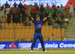 September 17, 2018 - Abu Dhabi, United Arab Emirates - Afghanistan cricketer Gulbadin Naib celebrates during the 3rd cricket match of Asia Cup 2018 between Sri Lanka and Afghanistan at the Sheikh Zayed Stadium,Abu Dhabi, United Arab Emirates. 09-17-2018  (Credit Image: © Tharaka Basnayaka/NurPhoto/ZUMA Press)