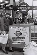 Teenager boy record shopping, Notting Hill Gate, UK 1984