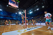 General view of game action.<br /> PERTH, AUSTRALIA - AUGUST 26: West Coast Fever vs the Sunshine Coast Lightning during the Suncorp Super Netball Grand Final match from Perth Arena - Sunday 26th August 2018 in Perth, Australia. (Photo by Daniel Carson/dcimages.org/Netball WA)