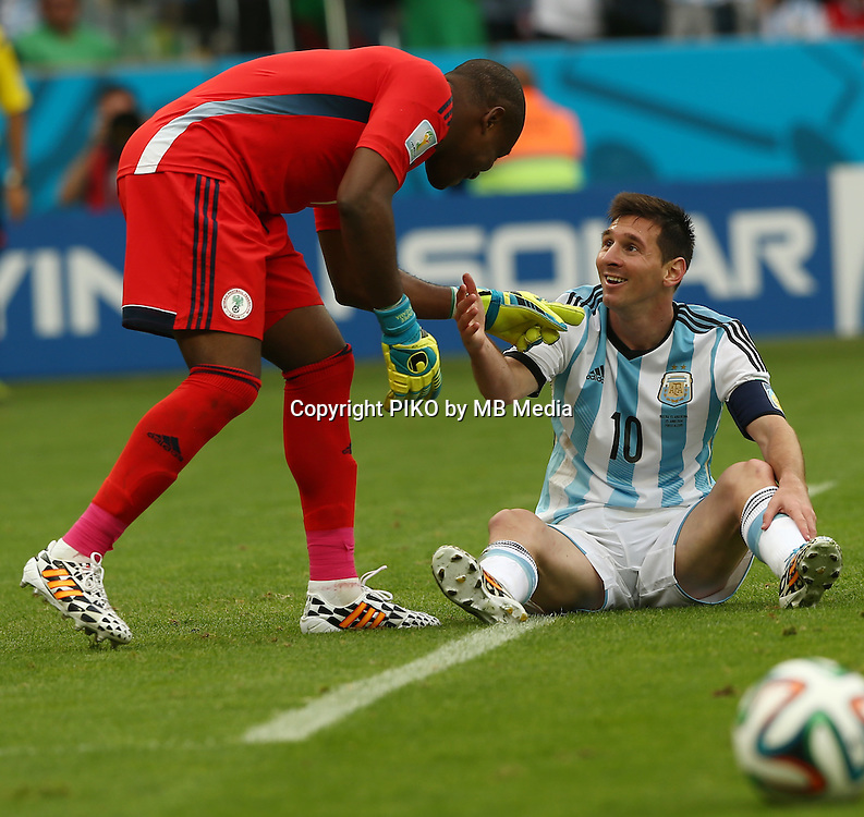 Fifa Soccer World Cup - Brazil 2014 - <br /> NIGERIA  (NGA) Vs. ARGENTINA (ARG) - Group F - Estadio Beira-RioPorto Alegre - Brazil (BRA) - June 25, 2014 <br /> Here Nigerian GK Vincent ENYEAMA (L) and Argentine player Lionel Messi (R)<br /> &copy; PikoPress