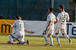 Players of team Zavrc during football match between NK Triglav Kranj and Zavrc 3rd Round of Prva Liga, on 28 July, 2013, in Sportni center Kranj, Slovenia. (Photo by Grega Valancic / Sportida)