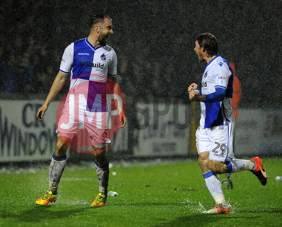 Peter Hartley celebrates with Luke James of Bristol Rovers - Mandatory by-line: Neil Brookman/JMP - 10/12/2016 - FOOTBALL - Memorial Stadium - Bristol, England - Bristol Rovers v Bury - Sky Bet League One