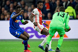 Quincy Promes #11 of Ajax and Dakonam Djene #2 of Getafe, David Soria #13 of Getafe in action during the Europa League match R32 second leg between Ajax and Getafe at Johan Cruyff Arena on February 27, 2020 in Amsterdam, Netherlands