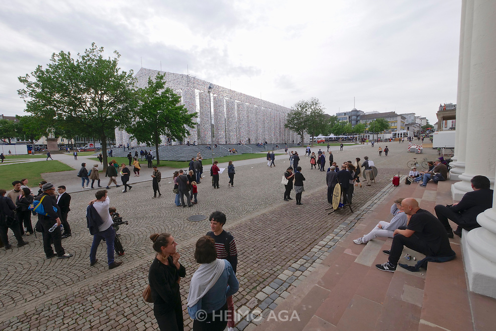 Kassel, Germany. Opening days of documenta14.<br /> Friedrichsplatz.<br /> Marta Minuj&iacute; (Argentina): Parthenon of Books.