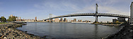 Panorama of Manhattan Bridge. View from Brooklyn.