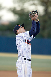 Virginia Cavaliers infielder Greg Miclat (2) grabs an infield pop fly.  The Virginia Cavaliers Baseball Team defeated the Delaware Blue Hens 11-2 in the first of a three game series at Davenport Field in Charlottesville, VA on March 2, 2007.