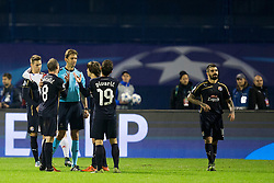 Players of GNK Dinamo Zagreb protesting after football match between GNK Dinamo Zagreb and Olympiakos in Group F of Group Stage of UEFA Champions League 2015/16, on October 20, 2015 in Stadium Maksimir, Zagreb, Croatia. Photo by Urban Urbanc / Sportida