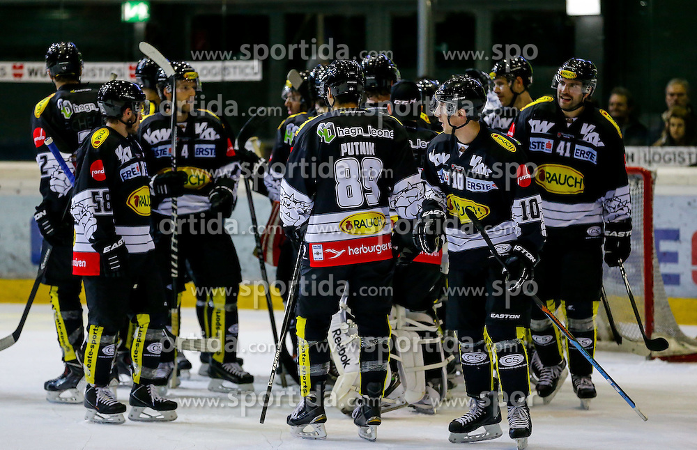 21.11.2014, Messestadion, Dornbirn, AUT, EBEL, Dornbirner EC vs EHC Liwest Black Wings Linz, 19. Runde, im Bild Jubel bei Dornbirner EC// during the Erste Bank Icehockey League 19th round match between Dornbirner EC and EHC Liwest Black Wings Linz at the Messestadion in Dornbirn, Austria on 2014/11/21, EXPA Pictures © 2014, PhotoCredit: EXPA/ Peter Rinderer
