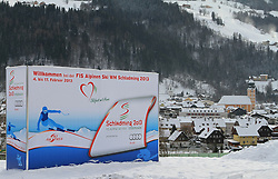 07.12.2012, Schladming, AUT, FIS Weltmeisterschaften Ski Alpin, Schladming 2013, Vorberichte, im Bild eine Werbetafel und Schladming am 07.12.2012 // billboard and the town of Schladming on 2012/12/07, preview to the FIS Alpine World Ski Championships 2013 at Schladming, Austria on 2012/12/07. EXPA Pictures © 2012, PhotoCredit: EXPA/ Martin Huber