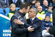 Brighton and Hove Albion manager Chris Hughton greets Derby County Manager Frank Lampard  during the The FA Cup 5th round match between Brighton and Hove Albion and Derby County at the American Express Community Stadium, Brighton and Hove, England on 16 February 2019.
