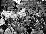 Irish Theatre Industry Protest..1983.07.12.1983.12.07.1983.7th December 1983..With the imposition of a 23% V.A.T rate that was crippling the Irish Theatre Industry, image shows theatre stars joining theatre workers and members of the public, outside Leinster House,Dublin in protest against the rate.