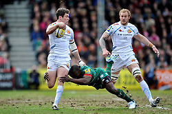 Ian Whitten of Exeter Chiefs is tackled by Miles Benjamin of Leicester Tigers - Photo mandatory by-line: Patrick Khachfe/JMP - Mobile: 07966 386802 28/03/2015 - SPORT - RUGBY UNION - Leicester - Welford Road - Leicester Tigers v Exeter Chiefs - Aviva Premiership