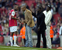 Photo: Olly Greenwood.<br />Arsenal v Reading. The Barclays Premiership. 03/03/2007. Arsenal's Willam Gallas shares a joke with Thierry Henry, Kolo Toure and Emmanuel Adebayor