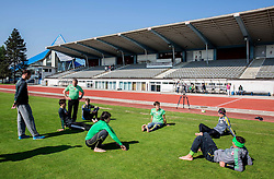 Athletes during fitness training of Slovenian Ski jumping National A team, on May 6, 2016, in Stadium Kranj, Slovenia.Photo by Vid Ponikvar / Sportida