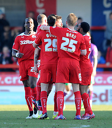 Crawley's Anthony Wordsworth celebrates with his team mates after scoring. - Photo mandatory by-line: Dougie Allward/JMP - Mobile: 07966 386802 - 07/03/2015 - SPORT - Football - Crawley - Broadfield Stadium - Crawley Town v Bristol City - Sky Bet League One