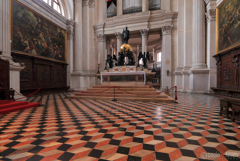 The major altar of the Basilica of San Giorgio Maggiore in Venice, Italy