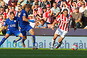 Stoke City's Geoff Cameron takes the ball on the wing during the Barclays Premier League match between Stoke City and Leicester City at the Britannia Stadium, Stoke-on-Trent, England on 19 September 2015. Photo by Aaron Lupton.