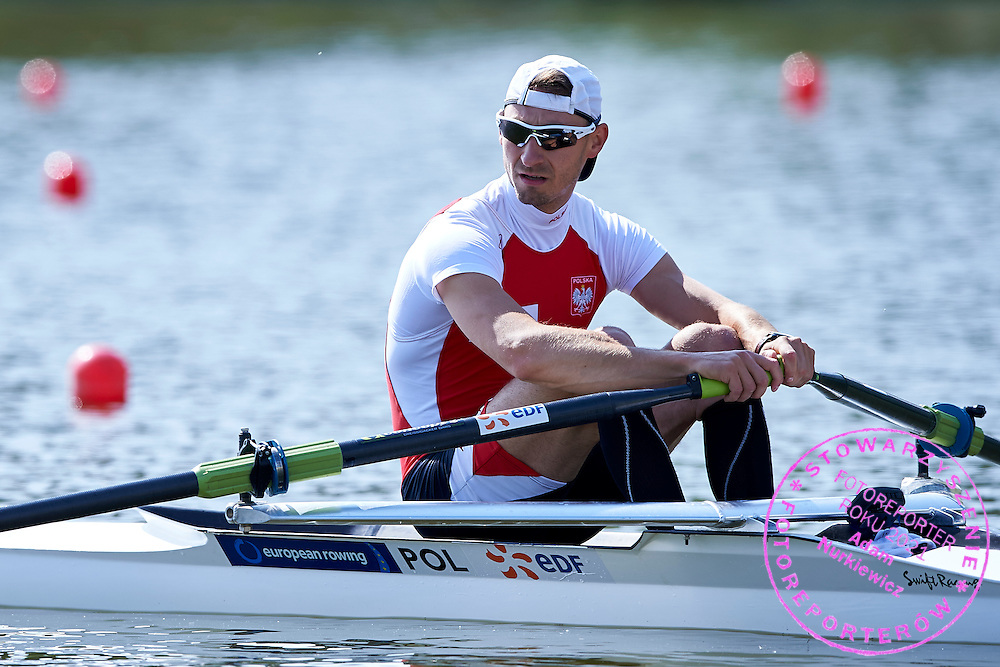 Jerzy Kowalski of Poland competes Lightweight Men&rsquo;s Single Sculls (LM1x) during first day the 2015 European Rowing Championships on Malta Lake on May 29, 2015 in Poznan, Poland<br /> Poland, Poznan, May 29, 2015<br /> <br /> Picture also available in RAW (NEF) or TIFF format on special request.<br /> <br /> For editorial use only. Any commercial or promotional use requires permission.<br /> <br /> Mandatory credit:<br /> Photo by &copy; Adam Nurkiewicz / Mediasport