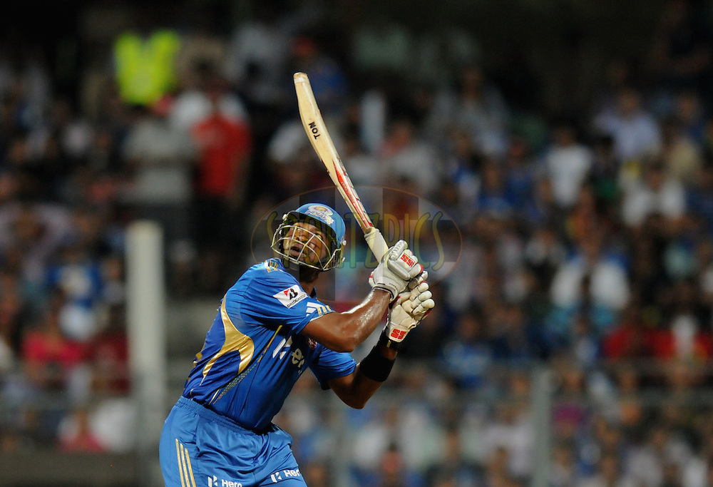 Kieron Pollard of Mumbai Indians bats during match 54 of the Indian Premier League ( IPL) 2012  between The Mumbai Indians and the Royal Challengers Banglore held at the Wankhede Stadium in Mumbai on the 9th May 2012..Photo by Pal Pillai/IPL/SPORTZPICS.