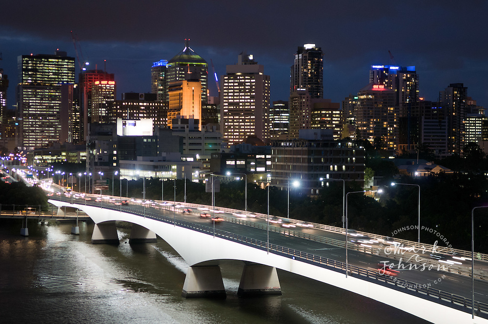 Traffic over the Captain Cook Bridge, with Brisbane city in the background. <br /> Brisbane, Queensland, Australia