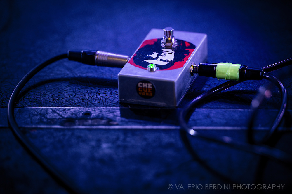 One of the guitar pedals of Julian Cope setting for his 2017 UK tour. Cambridge Junction on 2 Feb 2017
