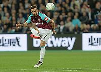 Football - 2017 / 2018 EFL (League) Cup - Third Round: West Ham United vs. Bolton Wanderers<br /> <br /> With only the goalkeeper to beat Marko Arnautovic (West Ham United) lifts the ball over the keeper and the crossbar at the London Stadium.<br /> <br /> <br /> COLORSPORT/DANIEL BEARHAM