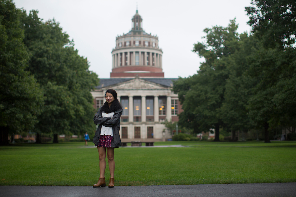 Sabrina Villanueva at the University of Rochester in Rochester, New York on August 31, 2016. Villanueva earned 12 credits through a community college while in high school in Dallas, but the University didn't accept them, causing her to pursue a minor in Spanish rather than sociology or psychology as she had originally intended.