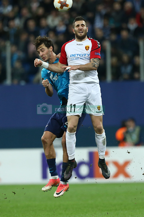 November 23, 2017 - Saint Petersburg, Russia - Aleksandr Erokhin of FC Zenit Saint Petersburg (L) and Tigran Barseghyan of FC Real Sociedad vie for the ball during the UEFA Europa League Group L football match between FC Zenit Saint Petersburg and FK Vardar at Saint Petersburg Stadium on November 23, 2017 in St.Petersburg, Russia. (Credit Image: © Igor Russak/NurPhoto via ZUMA Press)