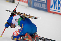David Ekholm (SWE) competes in the World Cup Biathlon men's Sprint Competition on March 13, 2009