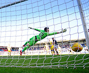 21st April 2018, Dens Park, Dundee, Scotland; Scottish Premier League football, Dundee versus St Johnstone; Sofien Moussa of Dundee beats goalkeper Zander Clark of St Johnstone to score for 2-1