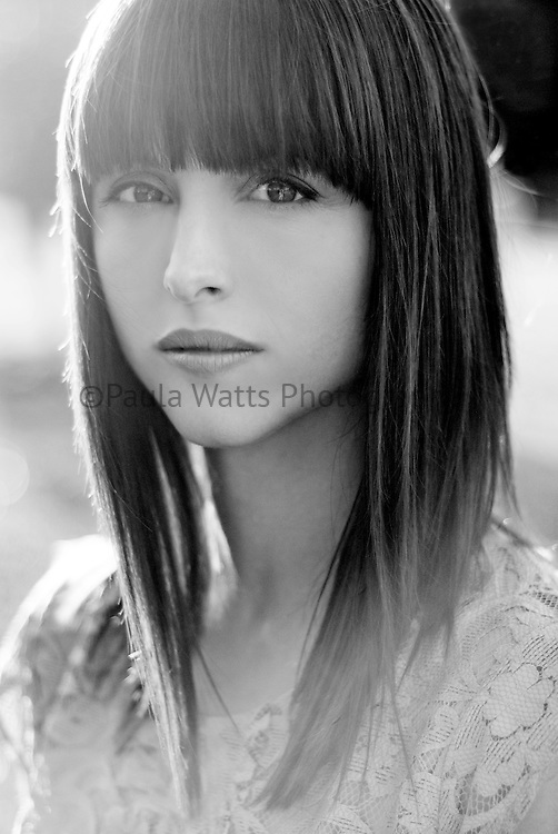 Model headshot in beautiful black and white editorial spread