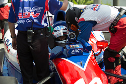 Sato getting strapped in