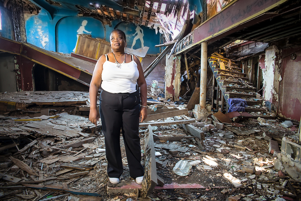 Marguerite Doyle Johnston in Club Desire, a landmark building in New Orleans destory by the floodwaters of Hurricane Katrina Ten years after the storm. Doyle is trying to save the building and have it restored.