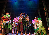 """Prentiss (Kristian Sorensen), the Boy (Will Champion) and Ted (John-Michael Breen) find themselves surrounded by the island natives during rehearsal for """"Peter and the Starcatcher"""" at the Winnipesaukee Playhouse on Tuesday evening. (Karen Bobotas/for the Laconia Daily Sun)"""
