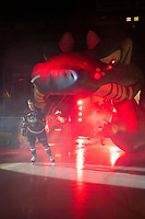KELOWNA, CANADA - SEPTEMBER 22:  Ethan Ernst #19  of the Kelowna Rockets enters the ice against the Kamloops Blazers on September 22, 2018 at Prospera Place in Kelowna, British Columbia, Canada.  (Photo by Marissa Baecker/Shoot the Breeze)  *** Local Caption ***