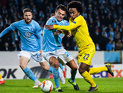 February 14, 2019 - MalmÃ, Sweden - 190214 Andreas Vindheim and Lasse Nielsen of Malmö FF compete for the ball with Willian of Chelsea during the Europa league match between Malmö FF and Chelsea on February 14, 2019 in Malmö..Photo: Ludvig Thunman / BILDBYRÃ…N / kod LT / 92225 (Credit Image: © Ludvig Thunman/Bildbyran via ZUMA Press)