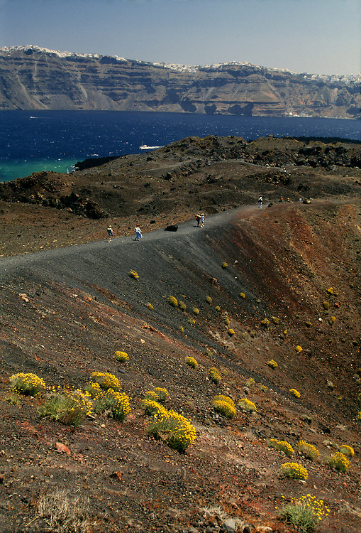 Greece, Cyclades, volcano crater on Burnt Island of Nea Kameni.