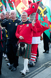 CARDIFF, WALES - Thursday, March 1, 2012: Members of the Football Association of Wales take part in the 10th St. David's Day Parade through the streets of Cardiff. FAW's paramedic Kevin McCusker. (Pic by David Rawcliffe/Propaganda)